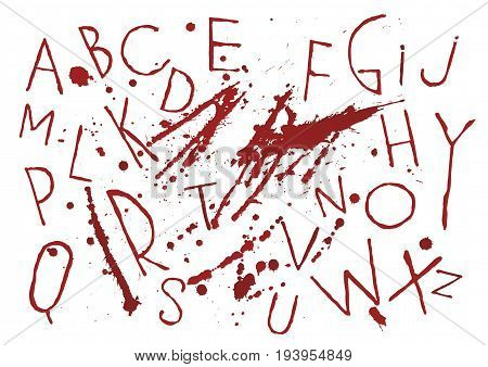 Red bloody capital handwritten vector thin brush alphabet on white background with blots and drops. The themes of horror thriller halloween revenge murder.