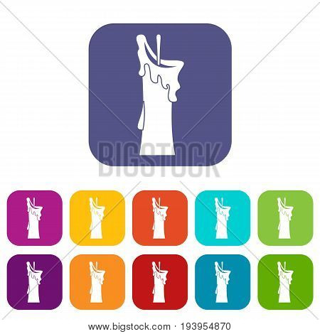 Little candle icons set vector illustration in flat style In colors red, blue, green and other