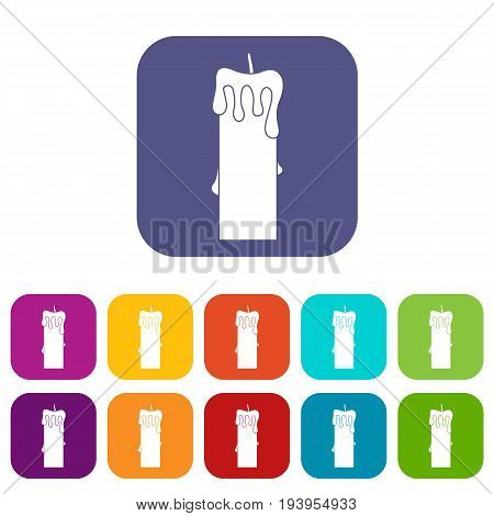 Memorial candle icons set vector illustration in flat style In colors red, blue, green and other