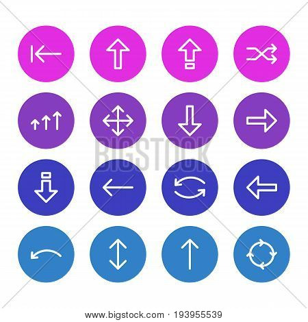 Vector Illustration Of 16 Arrows Icons. Editable Pack Of Exchange, Tab, Shrift And Other Elements.