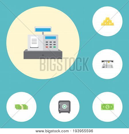 Flat Icons Ingot, Till, Teller Machine And Other Vector Elements. Set Of Finance Flat Icons Symbols Also Includes Bars, Money, Till Objects.