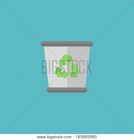 Flat Icon Trash Bin Element. Vector Illustration Of Flat Icon Garbage Container Isolated On Clean Background. Can Be Used As Trash, Junk And Bin Symbols.