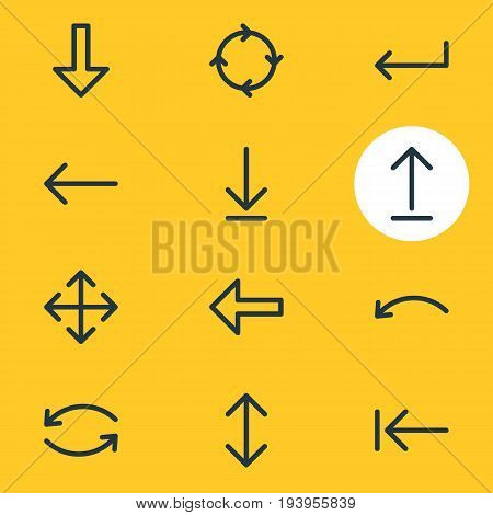 Vector Illustration Of 12 Direction Icons. Editable Pack Of Update, Download, Left And Other Elements.