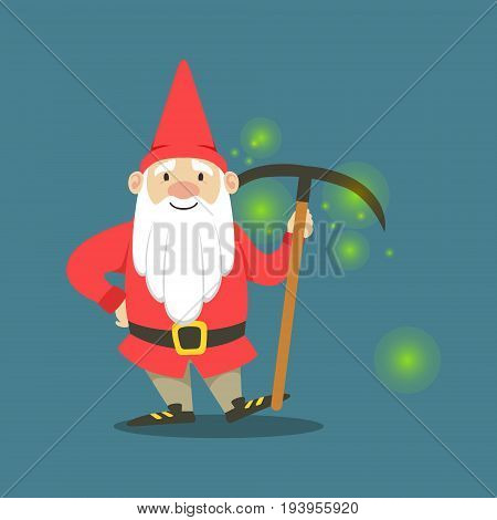 Cute dwarf in a red jacket and hat standing with pickaxe vector Illustration on a steel blue background