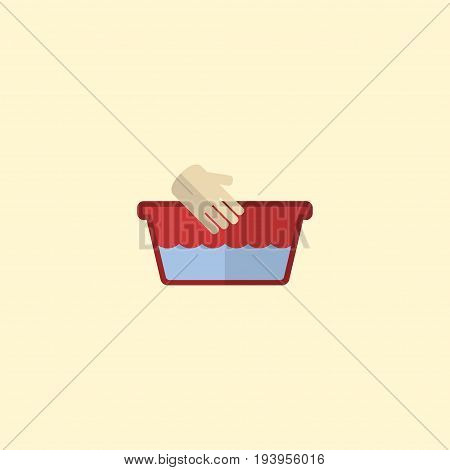 Flat Icon Hand Wash Element. Vector Illustration Of Flat Icon Clothes Washing Isolated On Clean Background. Can Be Used As Hand, Wash And Basin Symbols.