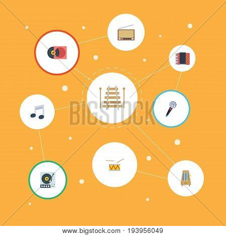 Flat Icons Turntable, Karaoke, Musical Instrument And Other Vector Elements. Set Of Music Flat Icons Symbols Also Includes Studio, Rhythm, Note Objects.