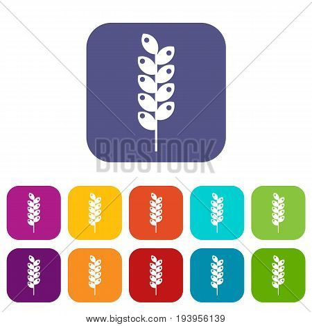Tight spike icons set vector illustration in flat style In colors red, blue, green and other
