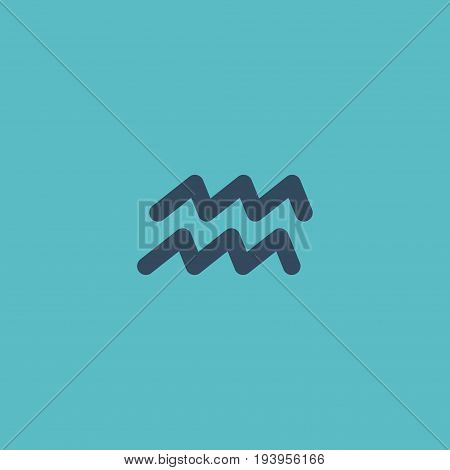 Flat Icon Aqurius Element. Vector Illustration Of Flat Icon Water Bearer Isolated On Clean Background. Can Be Used As Aqurius, Water And Zigzag Symbols.