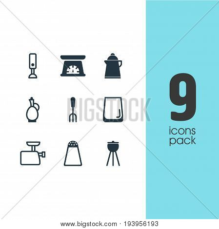 Vector Illustration Of 9 Cooking Icons. Editable Pack Of Fork, Measuring Tool, Pepper Container And Other Elements.