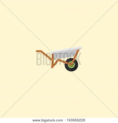 Flat Icon Wheelbarrow Element. Vector Illustration Of Flat Icon Handcart Isolated On Clean Background. Can Be Used As Wheelbarrow, Handcart And Pushcart Symbols.