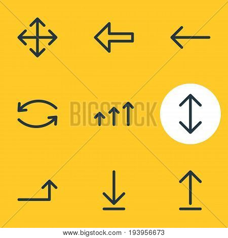 Vector Illustration Of 9 Sign Icons. Editable Pack Of Increase, Widen, Update And Other Elements.