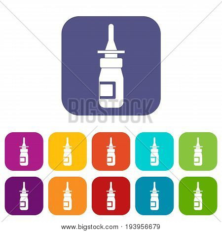 Nasal drops icons set vector illustration in flat style In colors red, blue, green and other