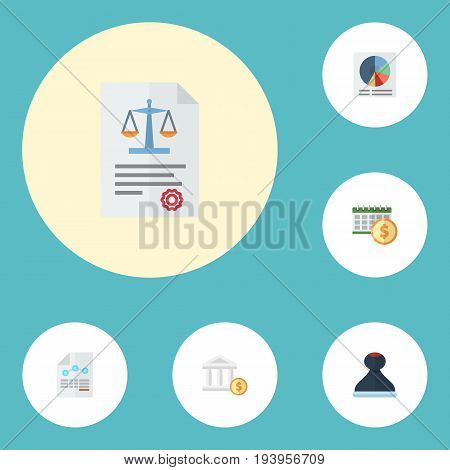 Flat Icons Bank, Paper, Mark And Other Vector Elements. Set Of Recording Flat Icons Symbols Also Includes Bank, Circle, Paper Objects.