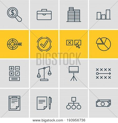 Vector Illustration Of 16 Trade Icons. Editable Pack Of Cash , Board Stand, House Elements.