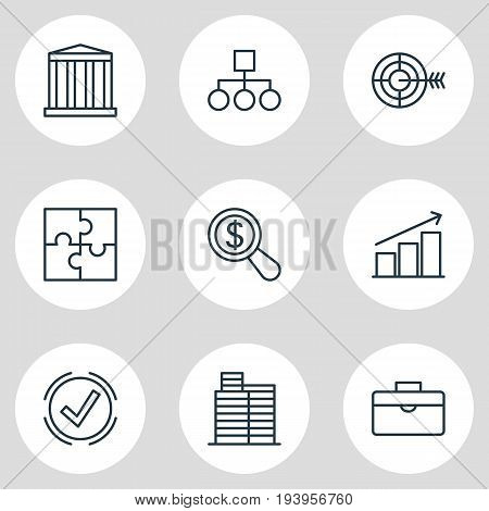 Vector Illustration Of 9 Trade Icons. Editable Pack Of Riddle, House, Goal And Other Elements.