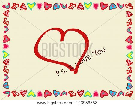 Frame of hearts with Declaration of love.  Perfect for your romantic concept, for greeting postcards, Valentine's day.  Horizontal location. Vector.