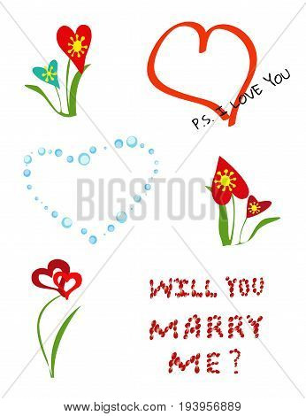 A set of different elements for romantic postcards, greeting with Valentine's day, declaration of love. Hearts, flowers and love confession perfectly match your romantic concept. Vertical. Vector.