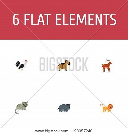 Flat Icons Pony, Rooster, Wildcat And Other Vector Elements. Set Of Zoology Flat Icons Symbols Also Includes Hippo, Rooster, Kitty Objects.