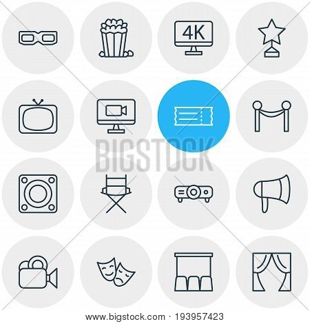 Vector Illustration Of 16 Film Icons. Editable Pack Of Coupon, Tragedy, Reward And Other Elements.
