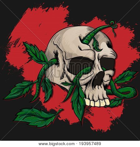 Vector illustration of human skulls sprouting roots with foliage