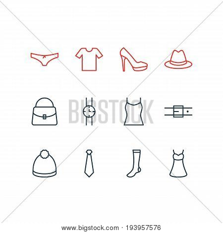 Vector Illustration Of 12 Clothes Icons. Editable Pack Of Singlet, Cravat, Pompom And Other Elements.