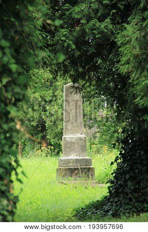 photo of old headstone in the end of tunnel of trees on the jewish cemetery in Frydek-Mistek, Czech Republic, July 2, 2017