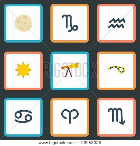 Flat Icons Crab, Water Bearer, Comet And Other Vector Elements. Set Of Astrology Flat Icons Symbols Also Includes Asteroid, Scorpion, Capricorn Objects.