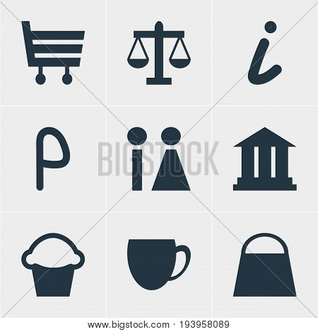 Vector Illustration Of 9 Location Icons. Editable Pack Of Cake, Scales, Shopping Cart And Other Elements.