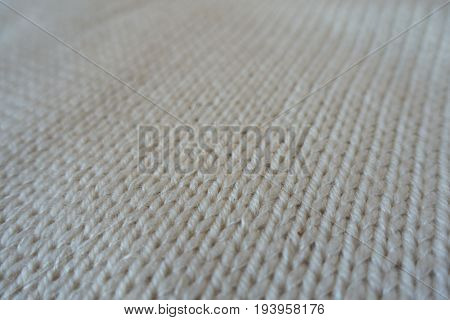 Close Up Of Ivory Handmade Stockinette Stitch Knitwork