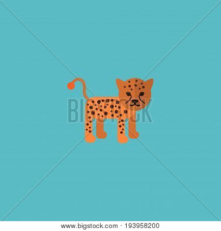 Flat Icon Leopard Element. Vector Illustration Of Flat Icon Panther Isolated On Clean Background. Can Be Used As Panther, Leopard And Puma Symbols.