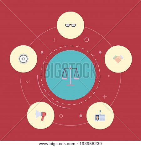 Flat Icons Cogwheel, Libra, Loudspeaker And Other Vector Elements. Set Of Trade Flat Icons Symbols Also Includes Scales, Loudspeaker, Id Objects.