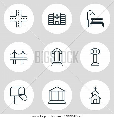 Vector Illustration Of 9  Icons. Editable Pack Of Building, Clinic, Courthouse And Other Elements.