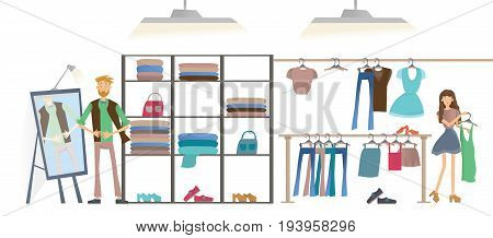 Young man and woman in clothing store. Fashion store, racks of clothes. Vector illustration, isolated on white background.