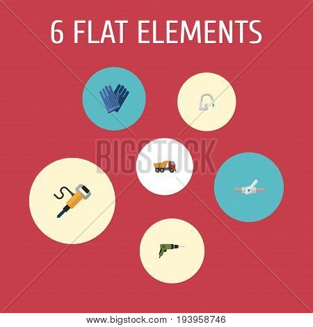 Flat Icons Electric Screwdriver, Mitten, Pneumatic And Other Vector Elements. Set Of Construction Flat Icons Symbols Also Includes Equipment, Water, Valve Objects.
