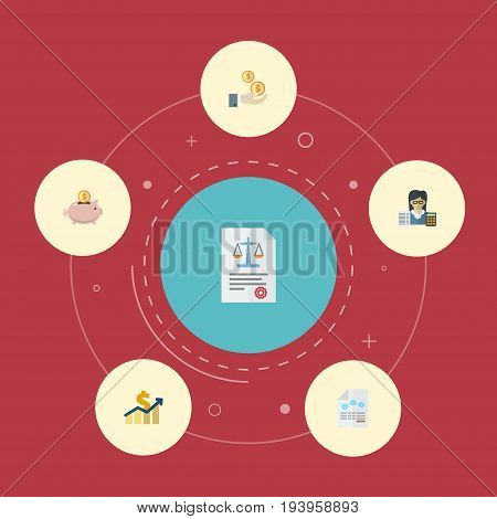 Flat Icons Moneybox, Profit, Paper And Other Vector Elements. Set Of Recording Flat Icons Symbols Also Includes Balance, Paper, Profit Objects.