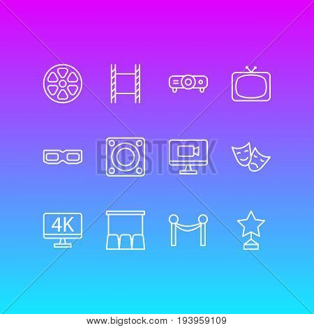 Vector Illustration Of 12 Cinema Icons. Editable Pack Of Cinema Fence, Resolution, Movie Reel And Other Elements.