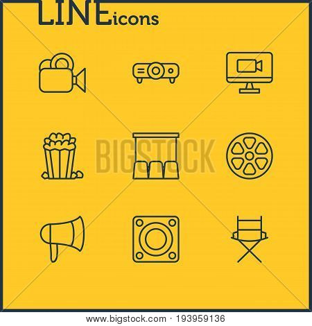 Vector Illustration Of 9 Film Icons. Editable Pack Of Loudspeaker, Shooting Seat, Movie Reel And Other Elements.