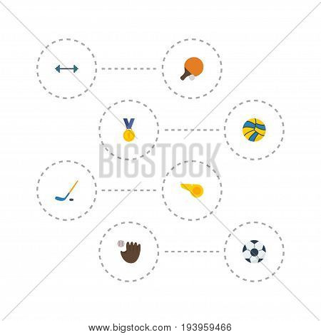 Flat Icons Puck, Kettlebells, Reward And Other Vector Elements. Set Of Activity Flat Icons Symbols Also Includes Football, Glove, Ping Objects.