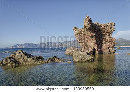 Ancient ruins of castle emerges from the sea