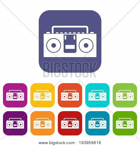 Vintage tape recorder for audio cassettes icons set vector illustration in flat style In colors red, blue, green and other
