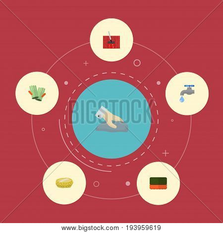 Flat Icons Gauntlet, Carpet Vacuuming, Faucet And Other Vector Elements. Set Of Hygiene Flat Icons Symbols Also Includes Towel, Faucet, Gloves Objects.