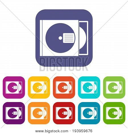 CD box with disc icons set vector illustration in flat style In colors red, blue, green and other