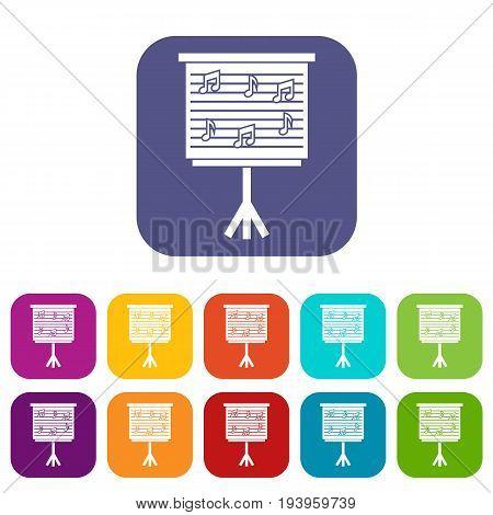 Whiteboard with music notes icons set vector illustration in flat style In colors red, blue, green and other