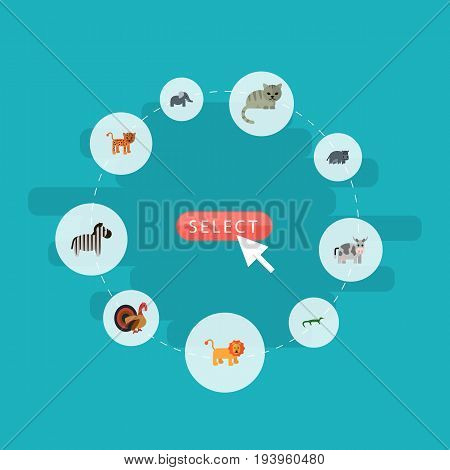 Flat Icons Hippopotamus, Panther, Trunked Animal And Other Vector Elements. Set Of Animal Flat Icons Symbols Also Includes Elephant, Zebra, Bishop Objects.