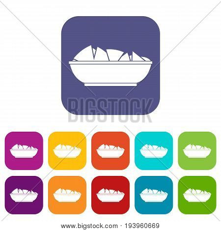 Nachos in bowl icons set vector illustration in flat style In colors red, blue, green and other