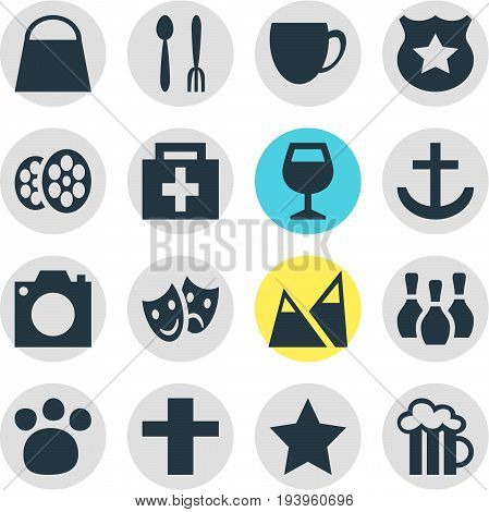 Vector Illustration Of 16 Map Icons. Editable Pack Of Film, Beer Mug, Skittles And Other Elements.