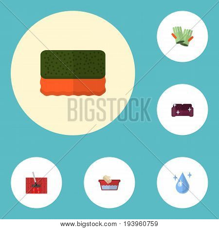 Flat Icons Sofa, Clothes Washing, Carpet Vacuuming And Other Vector Elements. Set Of Hygiene Flat Icons Symbols Also Includes Vacuuming, Carpet, Gauntlet Objects.