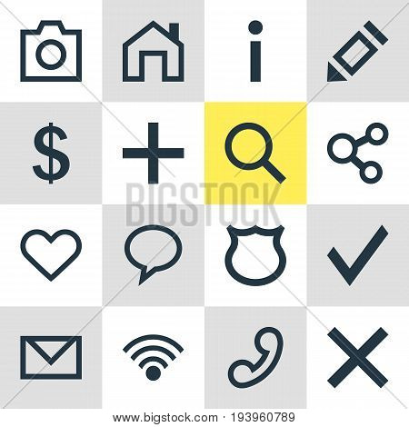 Vector Illustration Of 16 User Icons. Editable Pack Of Cordless Connection, Mainpage, Handset Elements.
