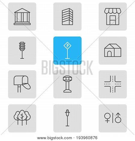 Vector Illustration Of 12  Icons. Editable Pack Of Road Sign, Semaphore, Skyscraper And Other Elements.