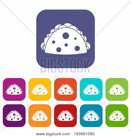 Empanada, cheburek or calzone icons set vector illustration in flat style In colors red, blue, green and other